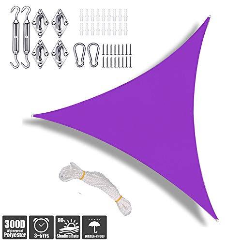 YOGANHJAT Portable Triangle Shape UV Protection Outdoor Sunscreen Awning Canopy Shade Sails Hardware Kit for Patio Yard Backyard Pergola Decking Swimming Pool Purple,4x4x4m/13'x13'x13'