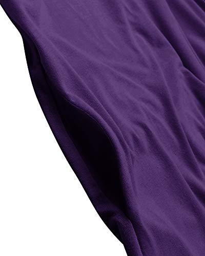 VONDA Vestido Verano Mujer Casual Playa Manga Corto BohemiaFiesta Vestido Largo Cuello Redondo Bordado Falda A-Bordado Violeta L