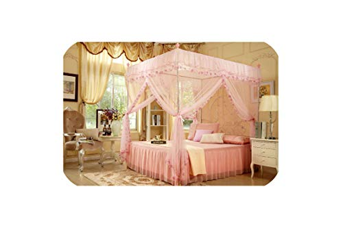 Read About sunshine-xj 4 Corners Poster Canopy Curtain Mosquito Net Twin XL Full Queen King No Bracket with 22mm Bracket,Pink,1.5m (5 feet) Bed