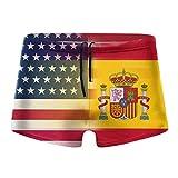 ERTERT Hombres EE. UU. España Bandera Swim Boxer Briefs Swim Jammer Swim Trunks Board Shorts Traje de baño de Pierna Cuadrada