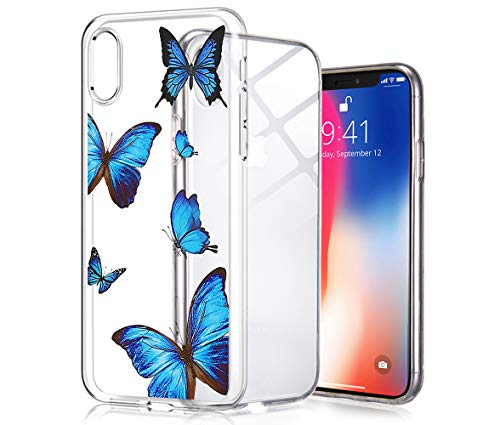 Idocolors Clear iPhone XR Case,Blue Butterfly Design Soft Silicone Flexible Bumper Shockproof Back Protective Case,Girly Cute Personalized Exquisite Cover Case for iPhone xr