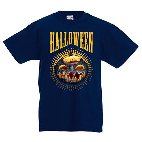 lepni.me Kinder Jungen/Mädchen T-Shirt Halloween Kürbis - Party Kostüm Ideen 2018 (3-4 Years Dunkelblau Mehrfarben)