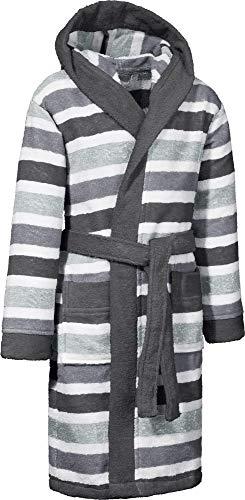 Erwin Müller Kinder-Bademantel mit Kapuze Frottier grau Größe 86/92 - saugstark, hautfreundlich, mit Taschen und Bindegürtel, Streifen (weitere Größen)