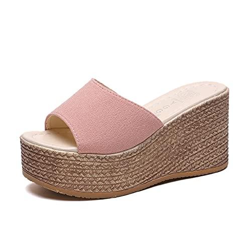 Sandalias de plataforma para mujer, sandalias de vacaciones, clásicas, con puntera abierta, impermeables, a la moda, sin cordones, Pink, 38.5 EU