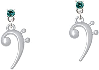 Bass Clef Crystal Post Earrings