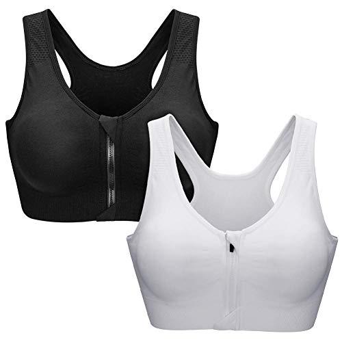 Zoerea Sports BH Damen Push Up Zip Front, 2er Pack Impact Yoga Bra, Gr.-XL: Fit 85D 90A 90B 90C 90D, Schwarz und Weiß