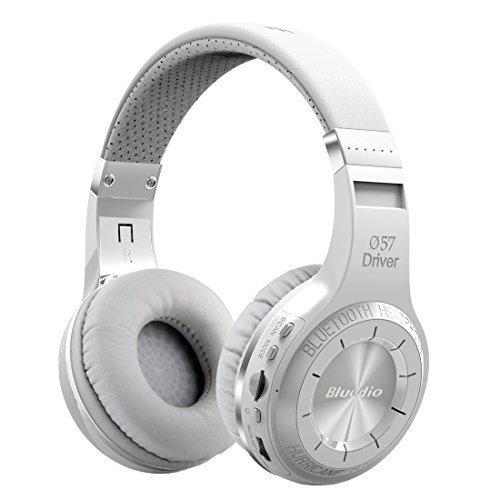 Bluedio H+(Turbine) Bluetooth Stereo Headphone Wireless Auricolari Cuffie Headphones Bulit-in Microphone Micro-SD Music String/FM Radio BT4.1 Over-Ear Headphones -Gift Package Global Release (White)
