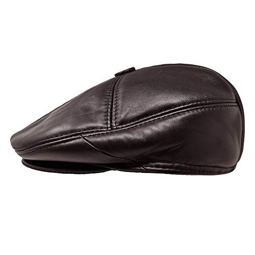 TangTown Soft Lambskin Leather Flat Cap Gatsby Newsboy Driving Warm Winter Ivy Hat (Large, Brown)