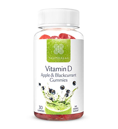 Vitamin D Apple & Blackcurrant Gummies | Healthspan | Vitamin D3 | Boosts Immunity | Supports Bones & Muscles | No Added Sugar (30 Gummies)