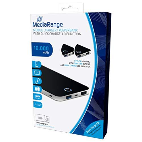 MediaRange Mobiles Ladegerät | Powerbank 10.000 mAh mit zwei USB-Ausgängen und Quick Charge Schnellladefunktion