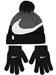 Nike beanie and gloves set Pom pom beanie with foldover cuff and rubberized logo (100% acrylic) Gloves with embroidered logos (100% acrylic) Hand wash cold Imported