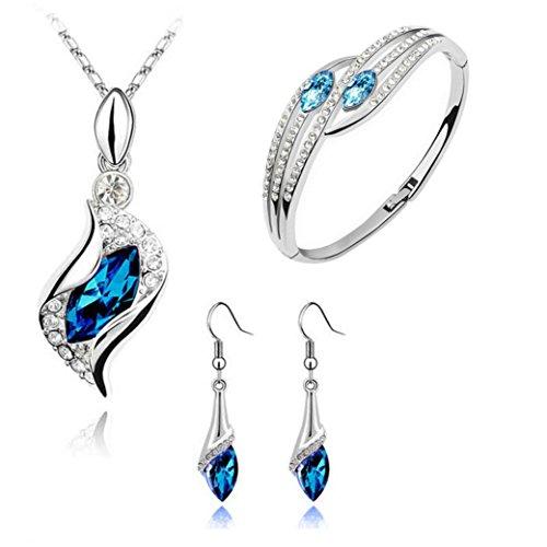 DAY.LIN Damen Ohrringe Schmuck Ohrstecker stecker Modestil  Schmuckset Crystal Chic Augen Tropfen Ohrringe Halskette Armband DIY