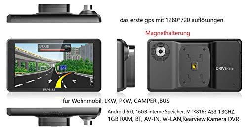 5.5 Zoll GPS Navi Navigationsgerät Navigationssystem Für Truck LKW,PKW, Bus,WOHNMOBIL und Camper. Radarwarner, Kostenlos Map Update, Gefahrgut, Fahrspurassistent (5.5 Zoll Android)