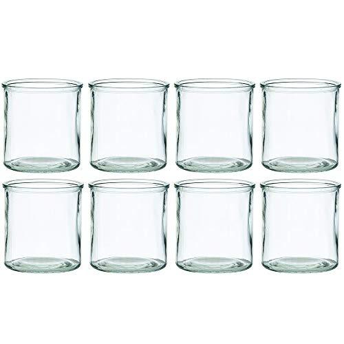 Annastore Windlichter aus Glas in klassischer Zylinderform H 10 cm - H 12 cm oder H 15 cm - Kerzenglas und Teelichtgläser für viele Dekorationen (8 x Ø 8 cm/H 10 cm)