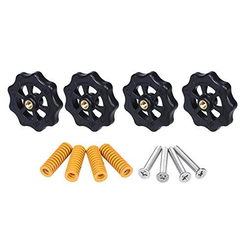 JYSLI Twist 3D Printer Parts Heated Bed Spring Leveling Kit Adjustment Nut+Springs+ Screw Heatbed Kit For CR-10 Ender 3 MK3 hotbed (Color : Blue) Drill (Color : Yellow)