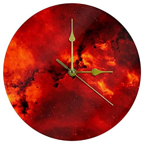 Yoliveya Reloj de pared redondo con galaxias silenciosas, color rojo, decorativo, no hace tictac, silencioso, para regalo, hogar, oficina, cocina, guardería, sala de estar, dormitorio, 25 cm