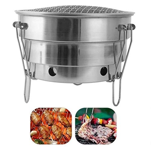 MASP Fire Pit,Outdoor Patio Steel Fire Pit,tableto Stainless Steel SmokerCharcoal BBQ for 2-3 Persons Garden Outdoor Cooking Hiking Picnics Camping