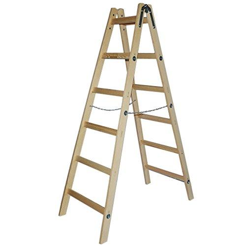 Systafex® Leiter Doppelstufenleiter Malerleiter Elektrikerleiter Stehleiter Holzleiter (6 Stufen) 1,85m