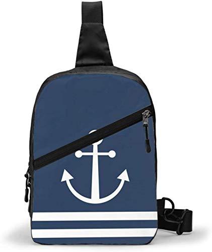 Weiße gestreifte nautische Anker-Schultertasche, Crossbody-Schultertasche, Brusttasche, Outdoor, Wandern, Reisen, persönliche Tasche für Damen und Herren, wasserabweisend