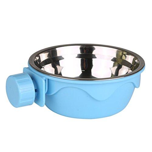POPETPOP Gamelle à suspendre en acier inoxydable pour chien ou chat - 2 couches - Amovible - Bleu
