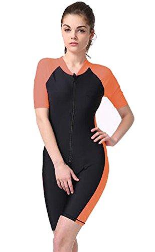 Wowdecor Surfer sur Internet Maillot de Bain pour Homme ou Femme d'une Seule pièce à Manches Courtes Protection Solaire Rashguard Combinaison Orange, Women, XL(Height: 5'7'-5'9')