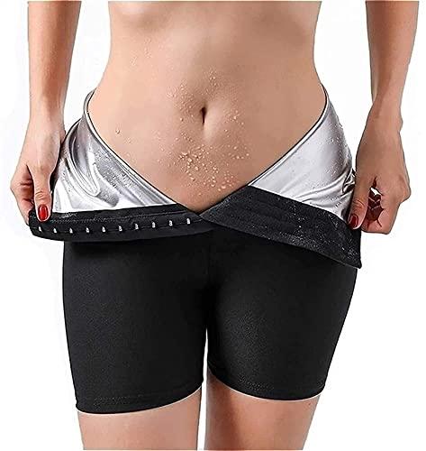 Sauna Sweat Dreireiher Shapewear mit Hoher Taille Gewichtsverlust Stretch Workout Gym Schlankheitsshorts Body Shaper Sweatsuit für Frauen (Color : Three-Point Pants, Size : L)