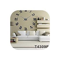 Wall Clock Large Decorative Wall Clocks Roman Numbers DIY Quartz 3D Wall Clock Home Decor Big Watch,Black