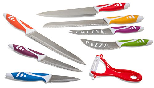 Kitchen Knife Set Chef Knives - 8pc Gift Knive Sets - Stainless Steel Professional Home Cooking Accessories Best for Commercial Grade Chefs Cutting Knifes Non-Stick Blades Colorful Decor Sharp Cutlery
