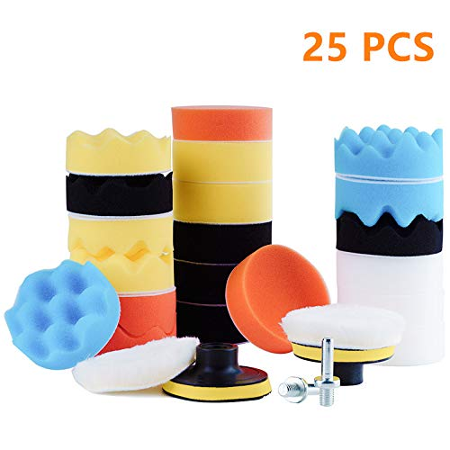 Surplex 25 Piezas Kit de Esponja pulir Coche, Pulido Lana Kit Encerado para el Coche Encerado Lijado, con 2 Adaptador de Taladro M10 (3 Inch)