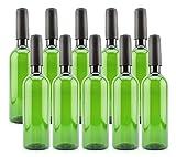 Cornucopia Plastic Wine Bottles (10-Pack, Green); Empty Bordeaux-Style Wine Bottles with Screw Caps and Seals