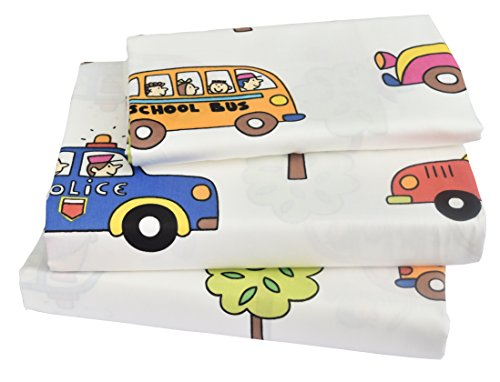 J-pinno Kids Boy Girl Cartoon School Bus Police car Fire engines, 100% Cotton 210 Thread Count 3-Pieces Twin Bedding Set, Flat Sheet + Fitted Sheet + Pillowcase (1)