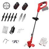 Lightweight String Trimmer, 24V Cordless Strimmer Lawn with Cutting Blade, 2pcs Lithium Battery Edger Powered & Electric Mini-Mower, Adjustable Handle and Height for Weed Wacker,Yard and Garden-red