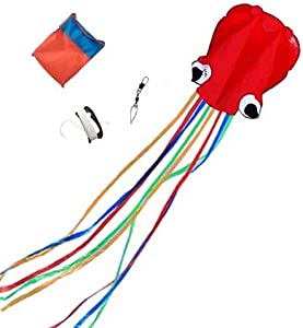 Mayco Bell Octopus Portable Kite Nylon & Polyester Material - Perfect Toy for Kids and Children Outdoor Games Activities - Fold-able Large 28 x 157 Inches | Extra 328 Feet Line (Red Multicolor Tail)