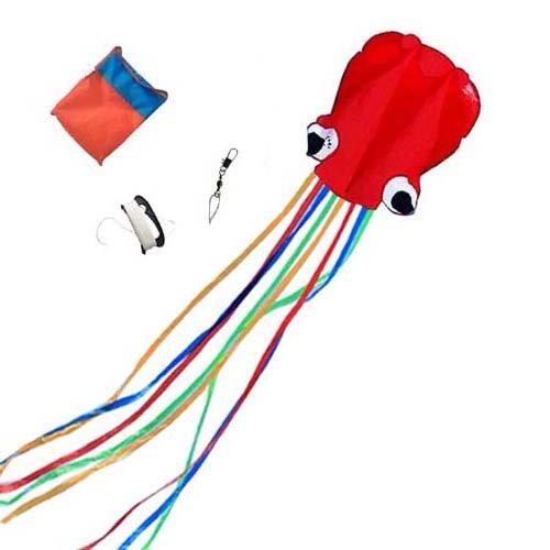 Mayco Bell Material Nylon y poliéster - Grande 72 x 400cm Cometa Cometas del Pulpo Portable | Adicional de 100 pies de línea (Multi Cola roja)