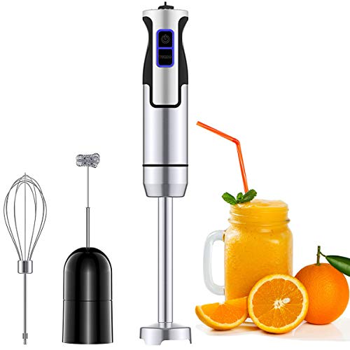 COMSOON Immersion Blender, 3-in-1 500W Multifunctional Hand Blender, Turbo Design & 8 Speed Stick Blender with Detachable Shaft, Whisk & Milk Frother for Making Smoothies, Puree, Baby Food, Soup, etc
