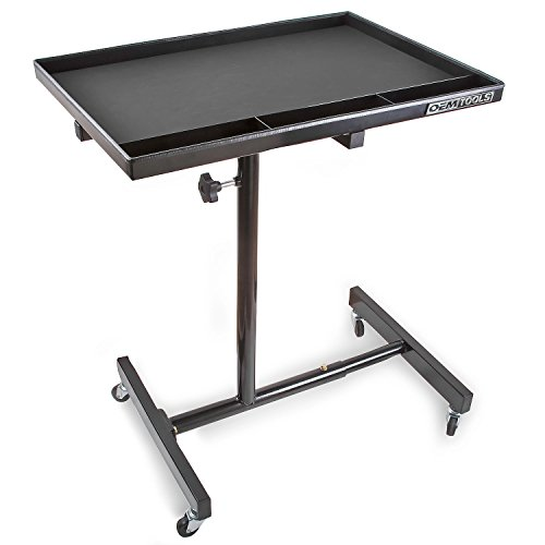 OEMTOOLS 24960 29 Inch Portable Tear Down Tray, Perfect Mobile Tray Table for Mechanics, 55-Pound Capacity, Steel Construction, Black