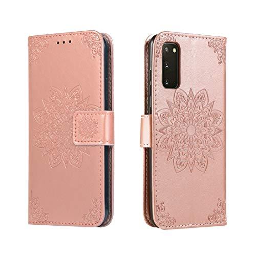 Shockproof LIJM For Galaxy S20 In Reliëf Bloem Van De Caleidoscoop Horizontale Flip Leather Case Met Houder & Card Slots & Wallet (Black) Decoratie (Color : Rose Gold)