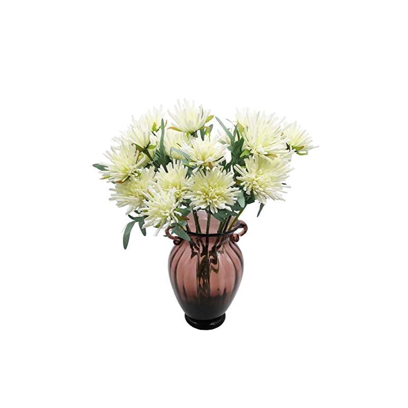silk flower arrangements cn-knight artificial flowers 10pcs 19 inch silk mums faux chrysanthemum gel-coated chrysanths for wedding bridal bouquet home decor housewarming gift centerpieces baby shower reception(white)