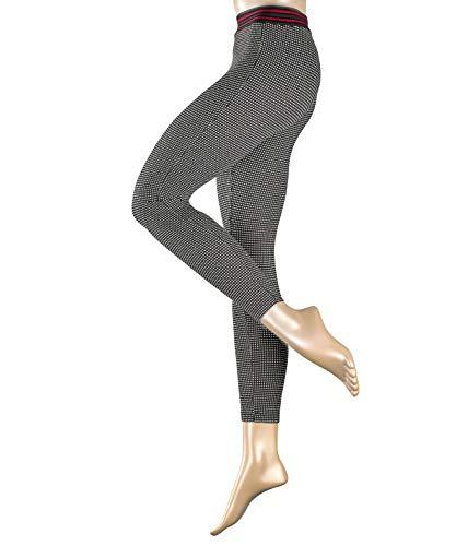 ESPRIT Shiny Check Sneakers voor dames, 1 stuks, maat 36-46, verf. Kleur: zwart, zachte leggings met ruitmotief en glanzende ruiten