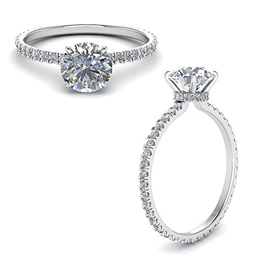 Anillo solitario de plata de ley 925 con diamante de moissanita de corte redondo blanco de 1 quilate para compromiso
