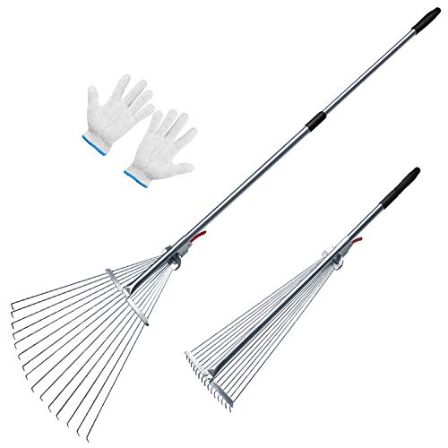 SHADE SPRING Adjustable Leaf Rake Portable Lightweight Metal Rake for Garden Lawn Yard Patio Cleaning 65 Inch