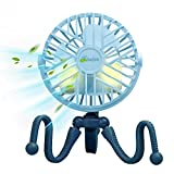 Ventilador de cochecito Ventilador de clip portátil para cochecito de bebé Luz LED recargable USB de 3 velocidades Mini ventilador de mano silencioso para asiento de coche