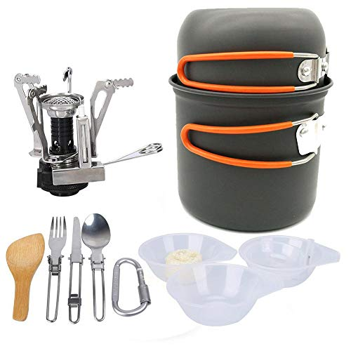 Camping Cookware Kit, Lightweight Camp Stove, Camping cookware Mess kit with Mini Stove, Pot Pan Kettle Fork Knife Spoon Kit for Outdoor Camping Hiking Picnic