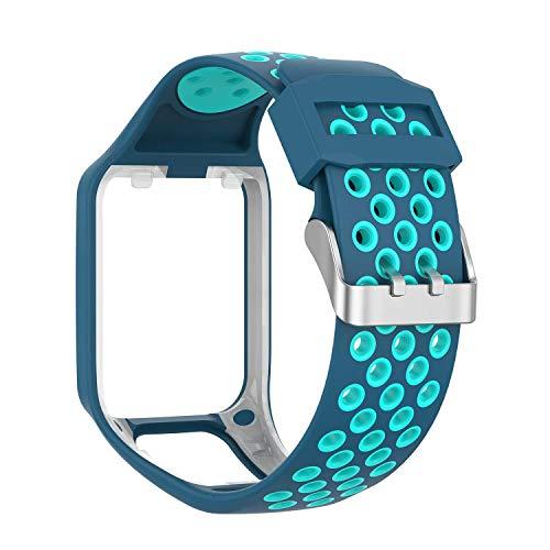 MCO Armband kompatibel Tom Tom,Silikon Uhrenbänder für Tomtom Runner 3 Armband/Runner 2/Spark 3/Adventurer/Golfer 2 (Blau&Blaugrün)