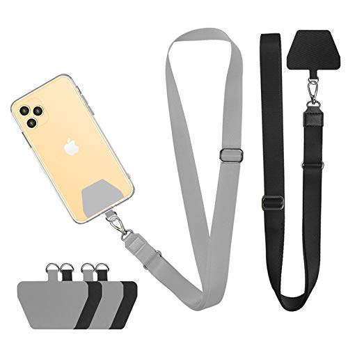 Doormoon Phone Neck Strap, Wristlet Keychain with Patch Works with All Smartphones Cases Drop Protection Compatible with iPhone, Samsung, Google & Most Smartphones, 2 Pack,Black Grey
