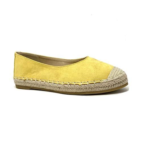 Angkorly - Damen Schuhe Espadrilles Ballerina - Folk/Ethnisch - Böhmen - Flache - Geflochten - mit Stroh - Basic Blockabsatz 2 cm - Gelb CD-3 T 39