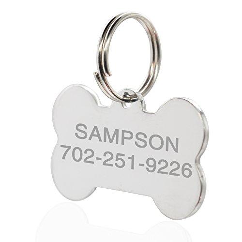 Amlion - Etiquetas de identificación de mascota de acero inoxidable, etiquetas personalizadas para nombre de perro y gato, doble cara, grabado hueso, redondo, corazón (pequeña, hueso)
