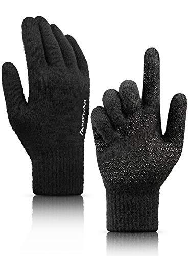 HONYAR Fahrradhandschuhe Winter, Handschuhe Herren Touchscreen - Winterhandschuhe Damen - Thermo Warm Gefüttert - Elastische Manschette - Arbeitshandschuhe Laufhandschuhe Autofahren - Schwarz (XL)