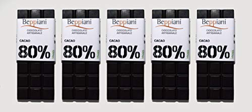 Beppiani – Set 5 Tavolette Cioccolato Fondente Dark 80% – 350 g – Cioccolato Artigianale – MADE IN ITALY