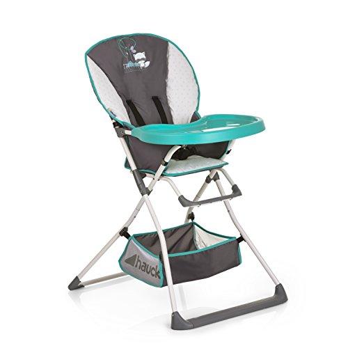 Hauck Mac Baby kinderstoel/eetplank met bekerversteviging, inklapbaar, vanaf 6 maanden, Forest Fun (grijs, wit)
